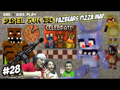 Dad & Kids play PIXEL GUN 3D! Freddy Fazbears Pizza Map! SCARY PIZZERIA w/ David After Dentist? FNAF