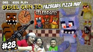 Dad & Kids play PIXEL GUN 3D! Freddy Fazbears Pizza Map! SCARY PIZZERIA w/ David After Dentist? FNAF