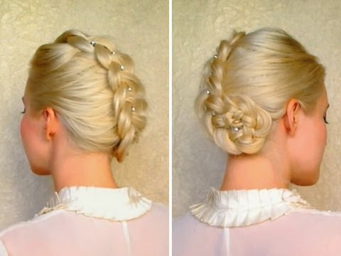 Dutch braid updo hairstyles for medium long hair tutorial Prom wedding party hairdo
