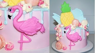 Cake decorating tutorials | how to make a FLAMINGO CAKE TOPPER | Sugarella Sweets