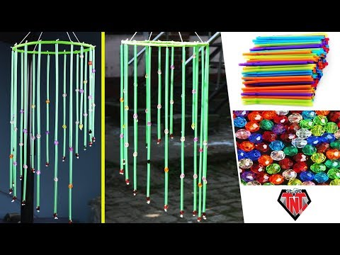 DIY Drinking Straw Gorgeous Wind Chime   Straw Craft Idea   Best out of Waste   Straw Wall Hanging