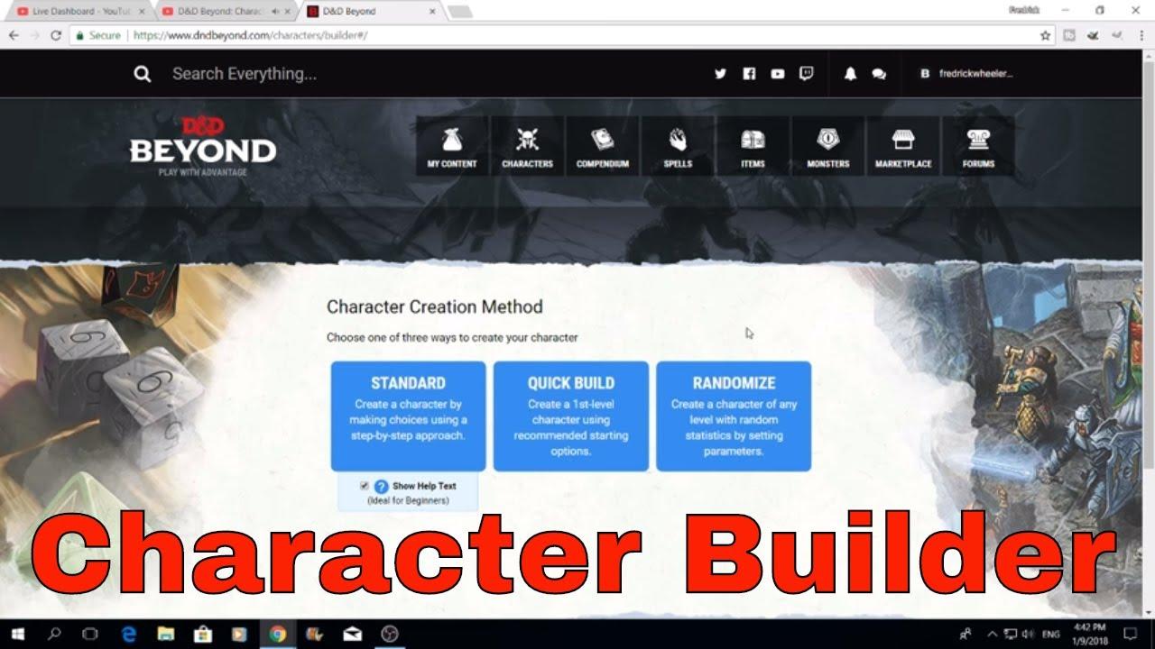 d d beyond character builder workshop youtube