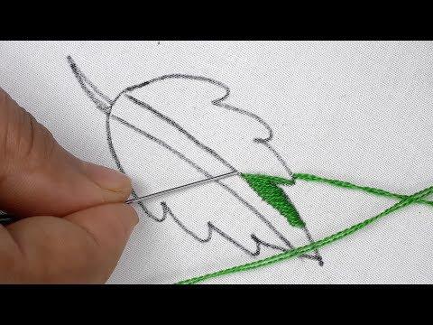 Hand embroidery satin & stiam stitch leaf design | Easy leaf design tutorial thumbnail