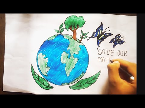 Poster On Save Earth Using Color Pencil