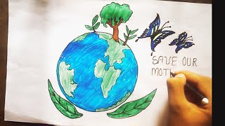 Poster On Save Earth Using Color Pencil | Save Earth Drawing