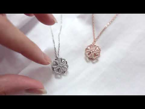 clover spinning necklace (rose gold and silver)