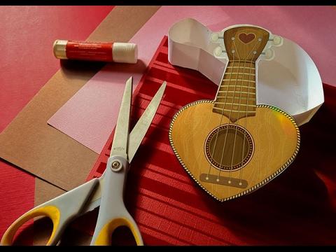 Easy Ukulele Valentine Heart Box Papercraft   DIY Valentine's Day Gift Idea