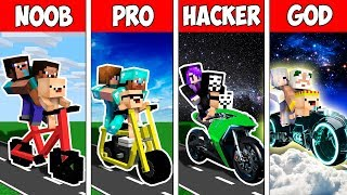 Minecraft Noob Vs Pro Vs Hacker Vs God  Family Sport Bike Ride In Minecraft  Animation