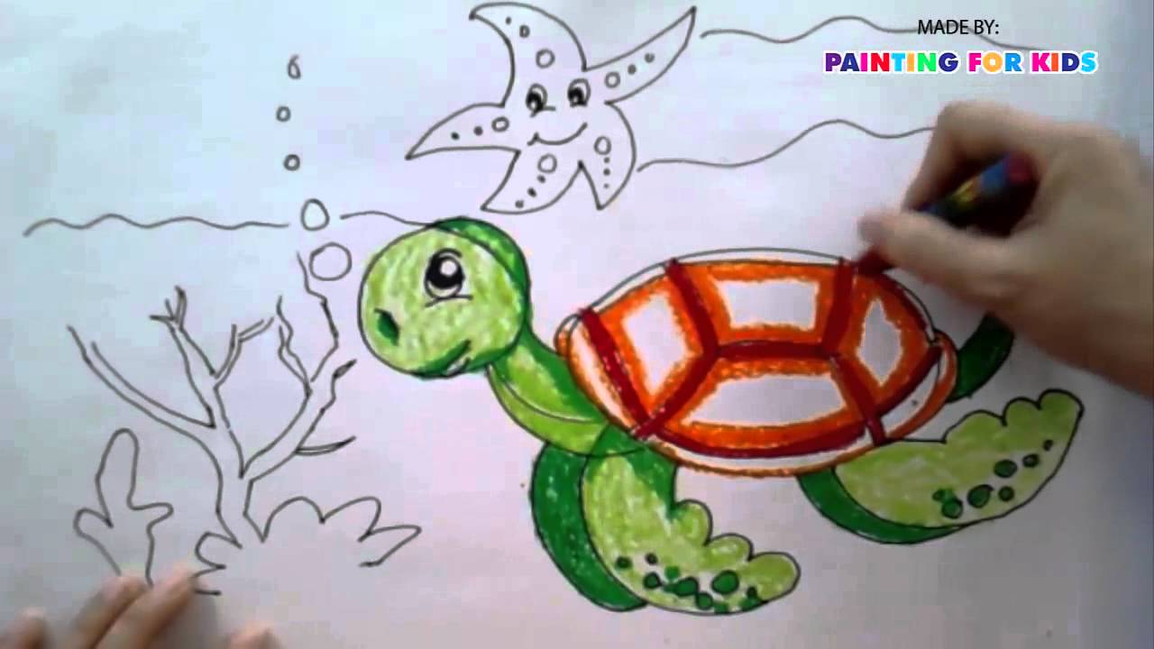painting animals for kids how to draw a sea turtle step by step