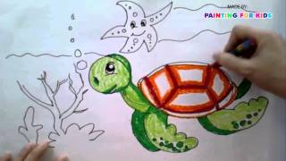 Painting animals for kids | How to draw a sea turtle step by step easy | Art for kids