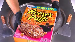 ASMR - Ice Cream Rolls with Travis Scott&#39s Reese&#39s Puffs  satisfying tapping and relaxing Sound 4k