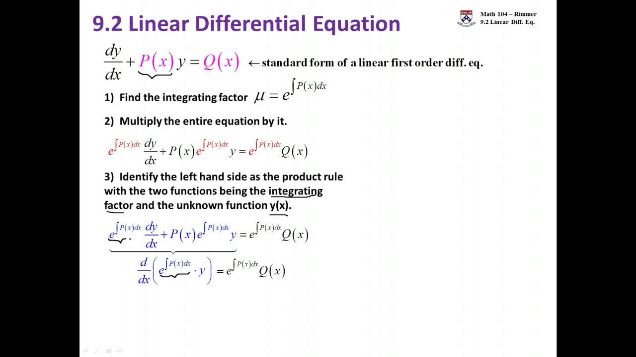 Linear ordinary differential equation steps youtube linear ordinary differential equation steps falaconquin