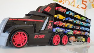 Giant truck carrying disney toy cars kids toy mcqueen for kids