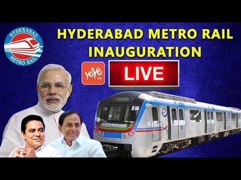 Hyderabad Metro Rail Inauguration Live    PM Narendra Modi, Telangana CM KCR, KTR    YOYO TV Channel