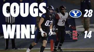 Highlights from the byu football 28 to 14 win over san diego state at lavell edwards stadium. @gregwrubell with call. december 12, 2020 #byufootball #goc...