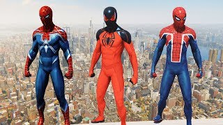 Spider-Man PS4 - Jumping From Highest Buildings in Resilient, Spider-UK & Scarlet Spider II Suits