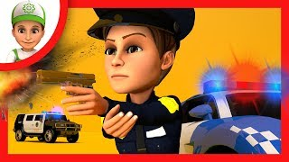 Escape from the police station. Police сhase  - Handy Andy cartoon for Children