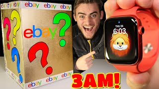 DO NOT OPEN $25,000 EBAY MYSTERY BOX AT 3AM! (APPLE WATCH SERIES 6 INSIDE!!) UNBOXING!