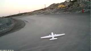 RC DC-3 Dynam Skbus model airplane ESC-motor failure.MOV