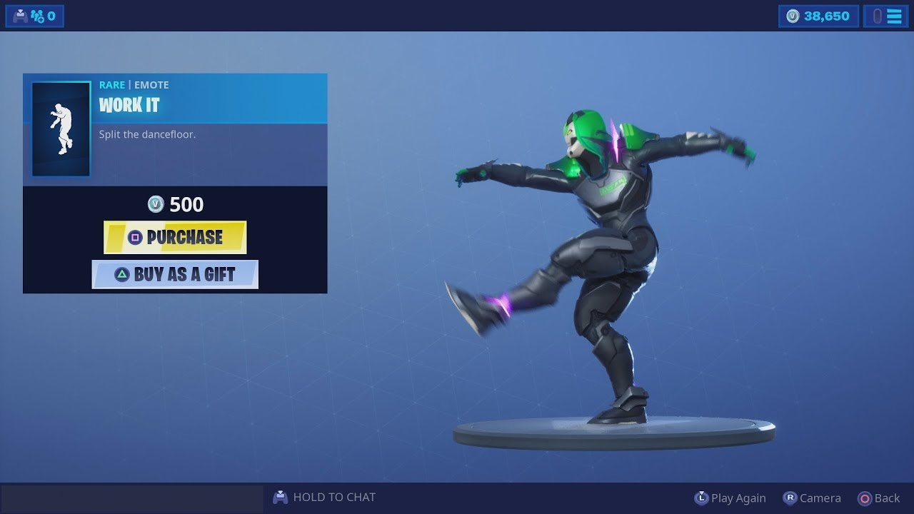 Buying Showcasing New Fortnite Dance Emote Work It On Different Fortnite Outfits Youtube