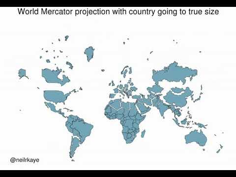 True Size Map Of The World.Animating The Mercator Projection To The True Size Of Each Country