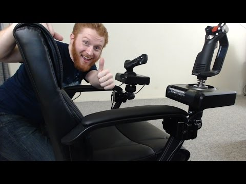 How to mount HOTAS flight sticks to an office chair for Elite: Dangerous and other flight sims