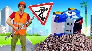 Видео про машинки из мультфильмов Робокар Поли. Время быть героем. Ремонт дороги! Игры в Игрушки