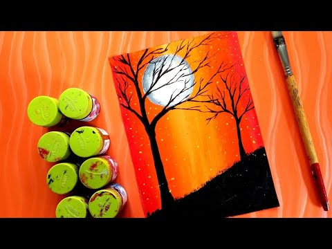 Painting Beautiful Scenery With Poster Colour Acrylic Panting