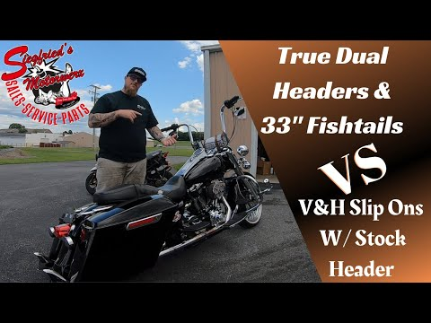 True Dual Fishtails VS V&H Slip Ons!  Road King TWIN CAM Exhaust Comparison!