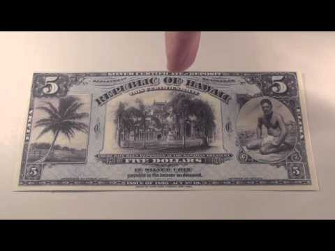 1895 $5 Republic of Hawaii Silver Certificate Note