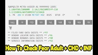 Galileo | How to Check Fare Adult Child Infant in Galileo | How to Book ADULT CHD INF In Galileo