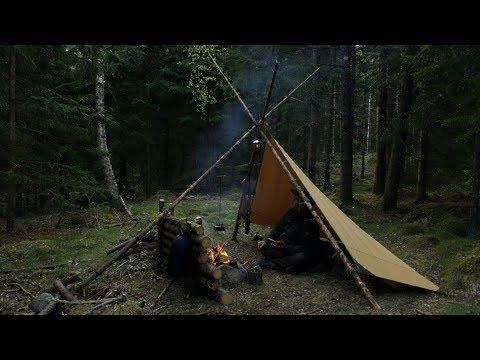 Bushcraft – Fish Net, Tripod Canvas Tarp Set Up, Campfire Cooking, Slide Pot Hanger, Crooked Knife