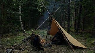 Bushcraft - Handmade Fish Net, Tripod Tarp Set Up, Campfire Cooking, Slide Pot Hanger, Crooked Knife