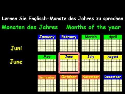 Die Monate Auf Englisch