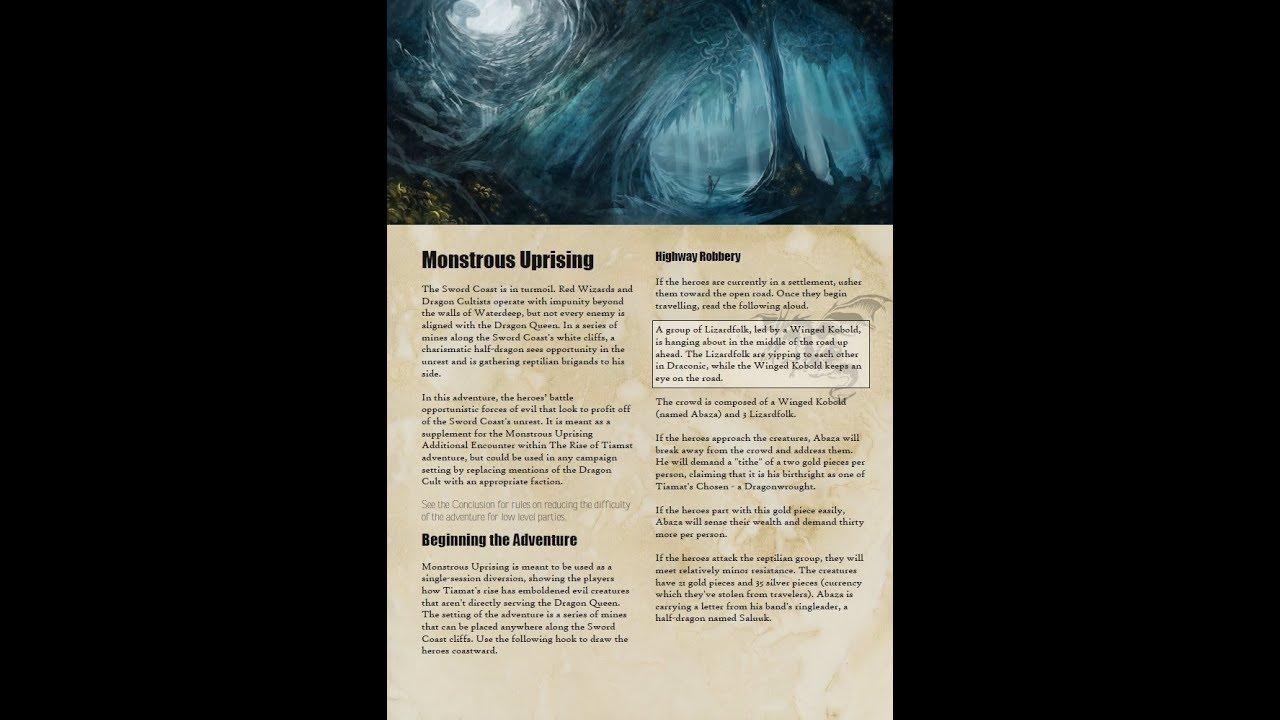 DMs Guild Review: Monstrous Uprising – Eric Watson