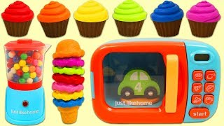 Learn Colors with Magic Toy Microwave, Toy Blender, and Rainbow Gumballs!