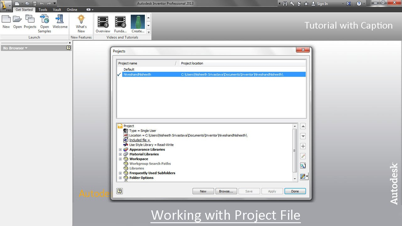 working with project file autodesk inventor youtube rh youtube com Autodesk Inventor Bikes Fun autodesk inventor 2014 tutorial files