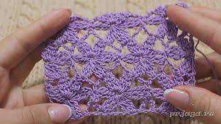 Цветочки - безотрывное вязание мотивов крючком
