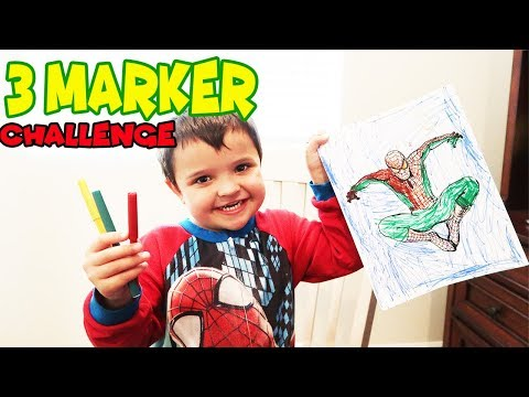 3 MARKER CHALLENGE!! Cody Colors SPIDERMAN!
