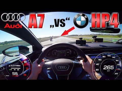 New A7 55 TFSI smoked by BMW HP4 at 300km/h on German Autobahn!