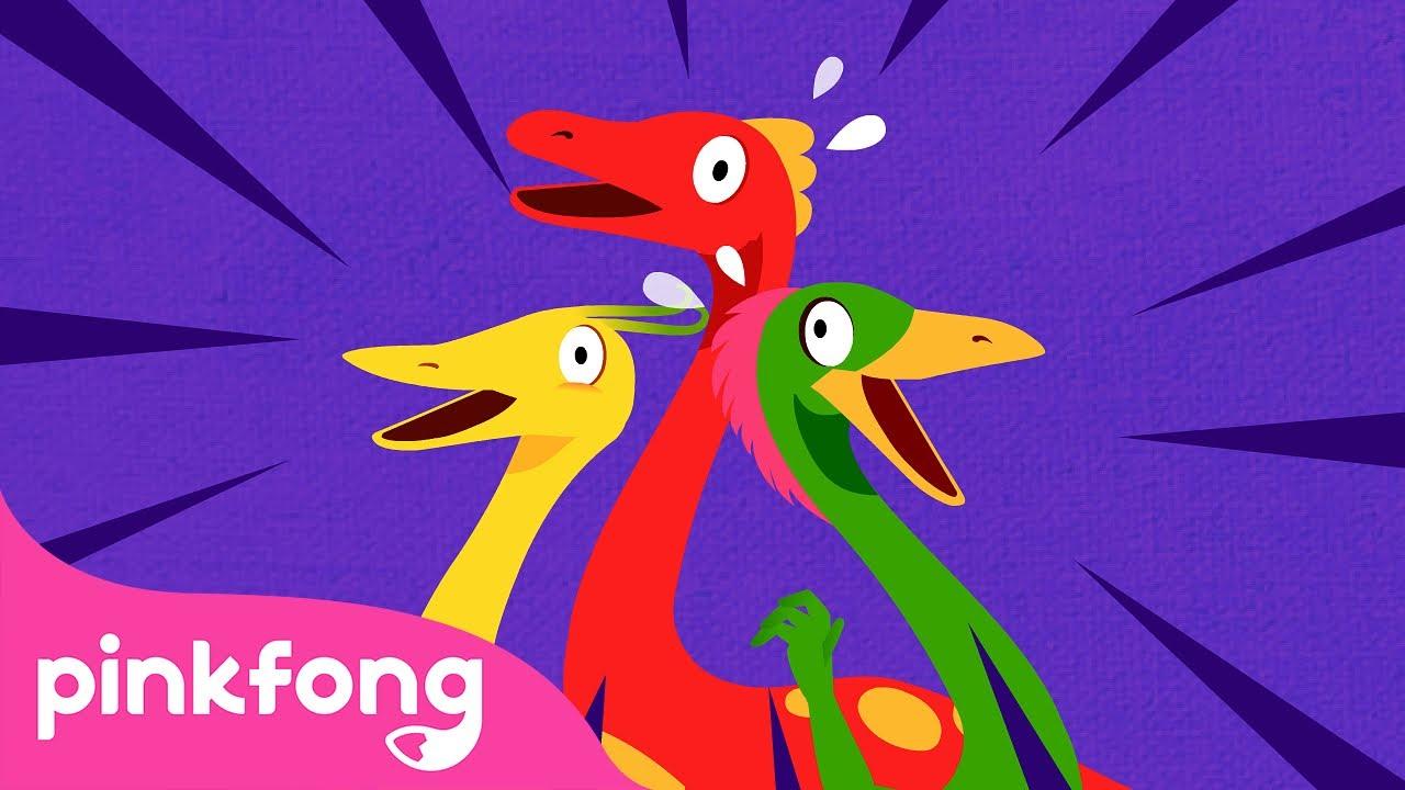 🌋Os Três Mimos | Canções de Dinossauro | Pinkfong Canções para crianças