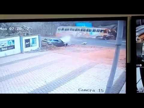 Bus car accident CCTV, kannur, pariyaram