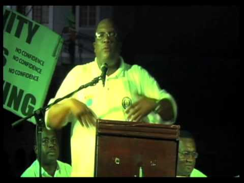 Hon. Dr. Timothy Harris at Team UNITY at Post March Rally Bank Street (October 11th 2013)