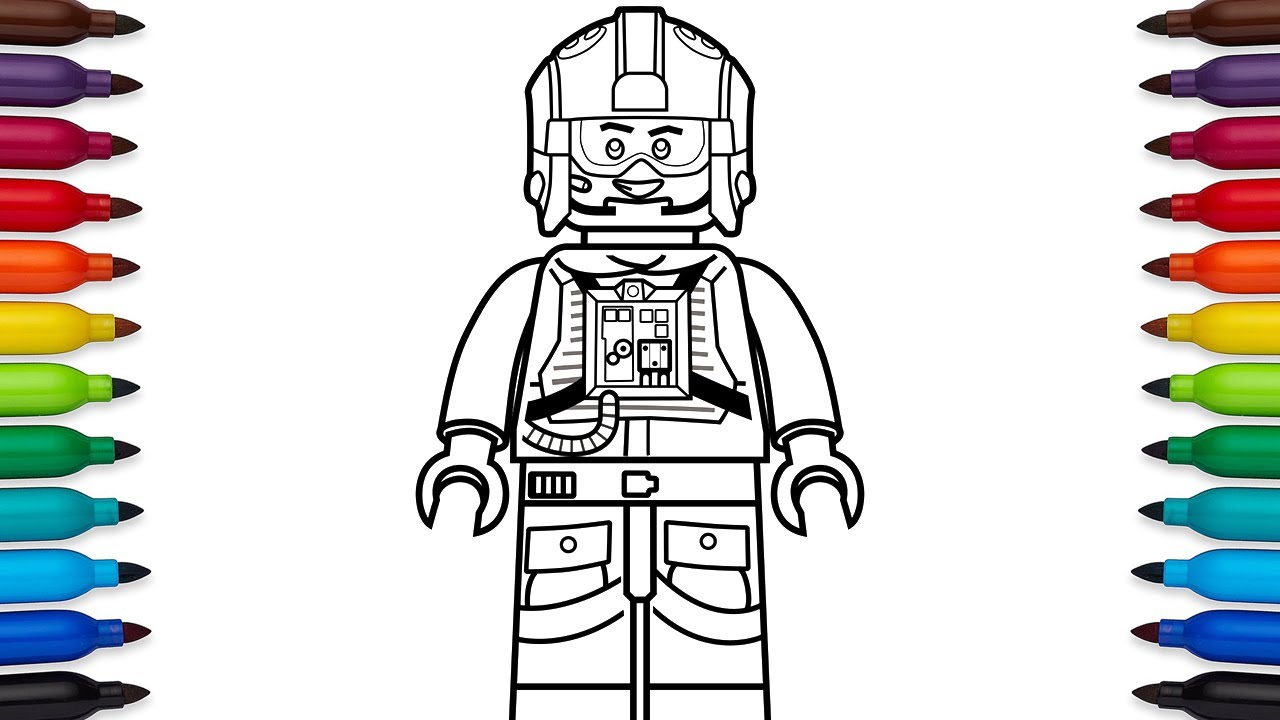 How to draw Lego Luke Skywalker pilot from Star Wars - coloring ...