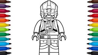 How to draw Lego Luke Skywalker pilot from Star Wars - coloring pages