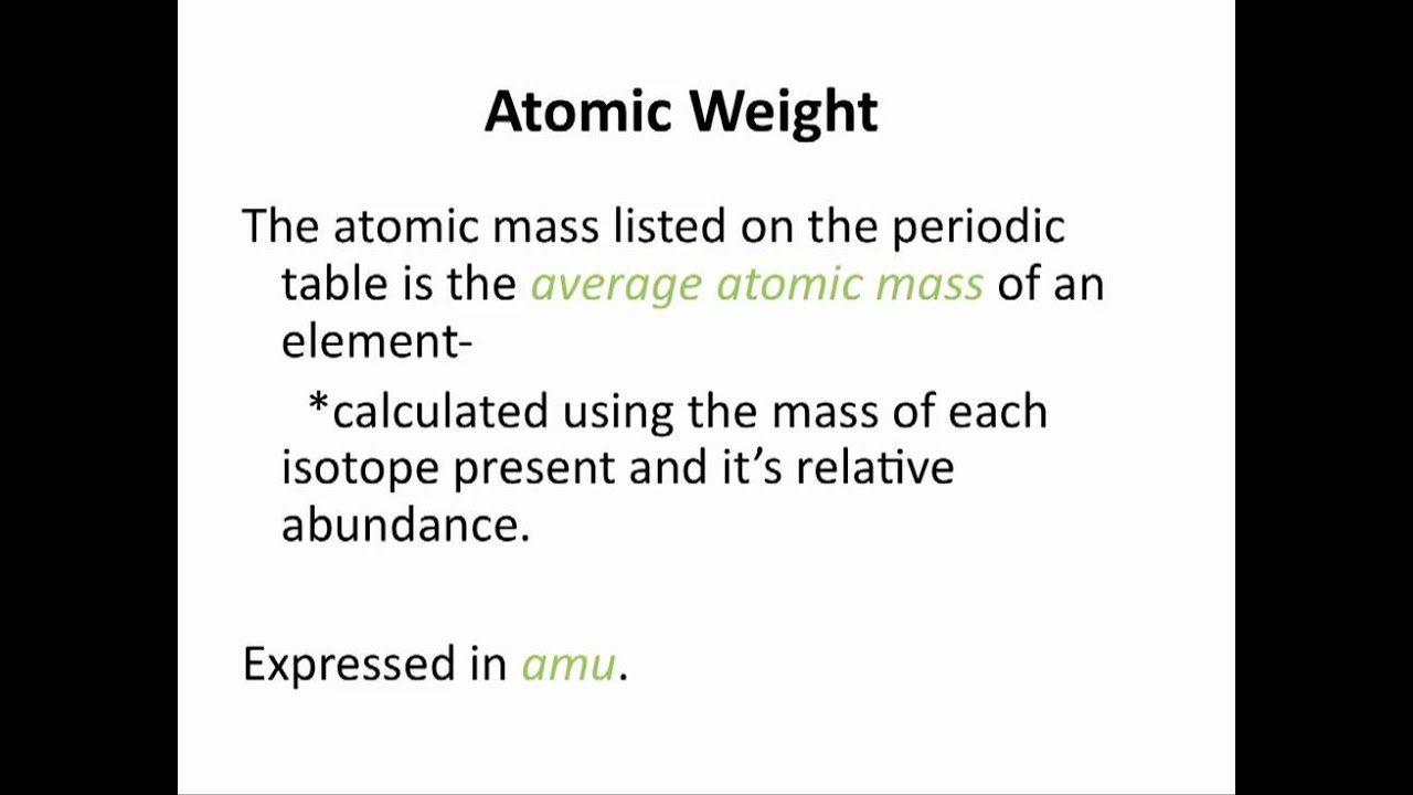 Atomic Weight And Average Atomic Mass Chemistry Tutorial Youtube