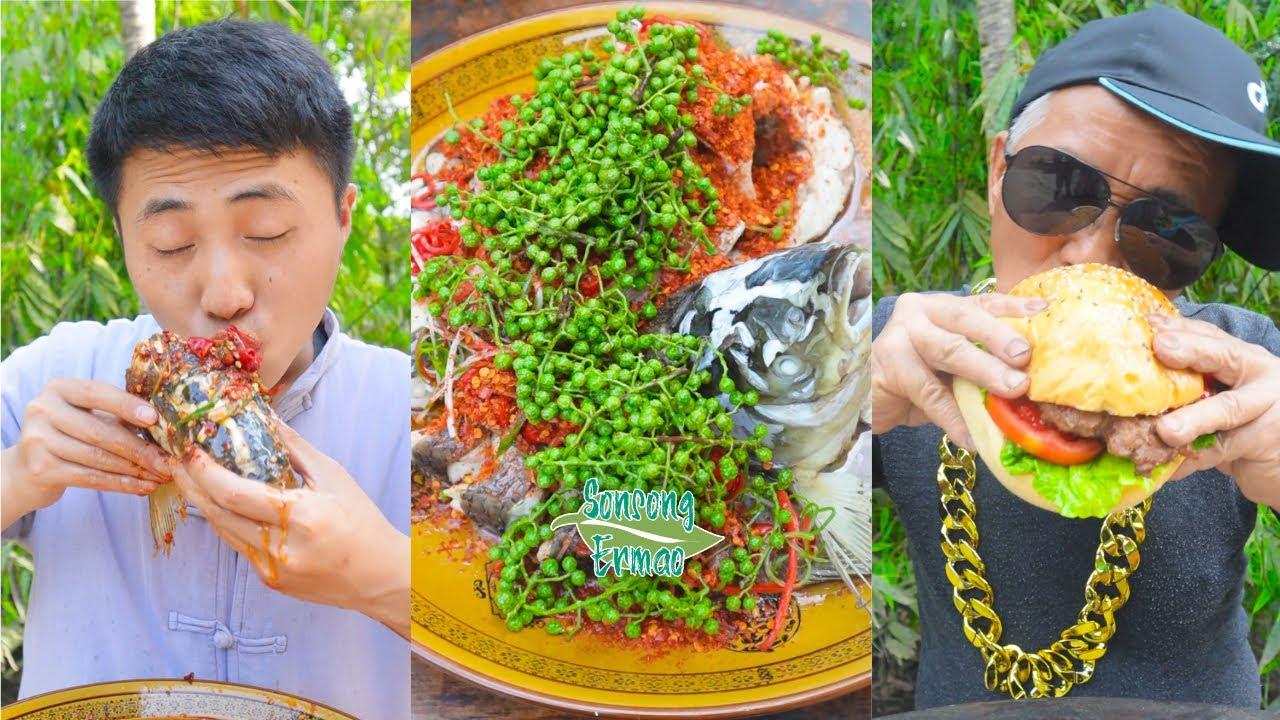 Spicy Food Challenge! Hot Pot and Lamb chops || Funny Mukbang || Songsong and Ermao