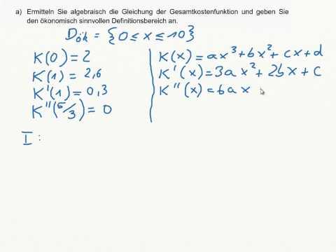 Gleichung der Gesamtkostenfunktion ermitteln! KLASSENARBEIT - Gauß-Algorithmus, Funktionssynthese