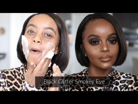 Black Glitter Smokey Eye Tutorial | Makeup for Black Women | Holiday makeup