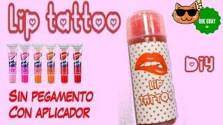 👄DIY LIP TATTOO 👄 SIN PEGAMENTO♥ Haz labial magico casero no tóxico  Fácil y con aplicador.
